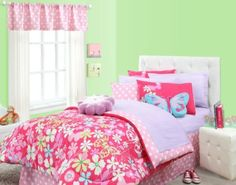 Bright Pink & White Butterflies, Flowers & Polka Dots 3pc Twin Comforter Set by Creative Kids. $88.79. The set includes: 1- Twin Comforter, 1- Pillow  Sham & 1- Toss Pillow. This fun and fabulous Little Wings reversible bedding is perfect for any young girl's or teen's room. An engaging mix of butterfly silhouettes and flowers on a pink ground liven up any room. Comforter reverses to pink/white polka dots. Comforter, shams and toss pillow are 100% cotton. Comforter ...