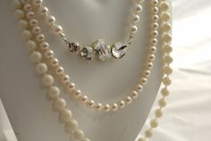 Swarovski pearl and crystal 3 strand necklacen by MOSQUITA