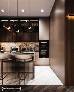 Such a beautiful kitchen! So warm lighting and a luxury feeling. Modern Kitchen Interiors, Luxury Kitchen Design, Kitchen Room Design, Elegant Kitchens, Kitchen Cabinet Design, Luxury Kitchens, Home Decor Kitchen, Interior Design Kitchen, Dark Kitchens
