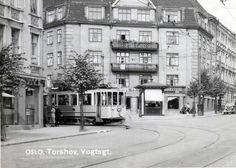 tram at torshov, ca 1937 Oslo, Light Rail, Norway, Gate, Street View, Places, Trains, Pictures, Photos