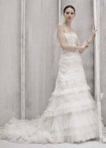 David's Bridal Wedding Dress: Petite Strapless Lace and Tulle Slim Gown Style 7CWG352