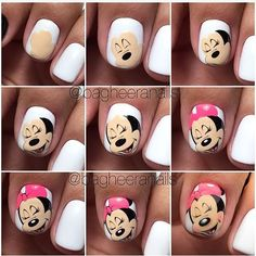 Nails and manicure step by step. New Nail Art, Cute Nail Art, Nail Art Diy, Diy Nails, Cute Nails, Manicure, Minnie Mouse Nail Art, Mickey Mouse Nails, Diy Ongles