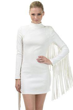 Mock Neck Fringe Detail Mini Dress