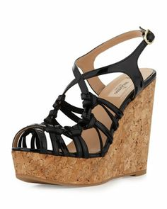 Strappy+Patent+Cork+Wedge+Sandal,+Black+by+Valentino+at+Neiman+Marcus.