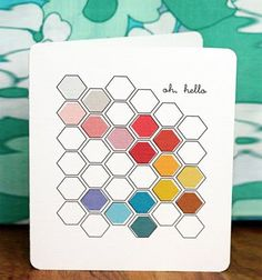 honeycomb pattern - more modern, less retro. And what a cool way to introduce a color scheme . . .