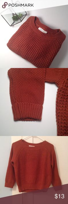 Forever 21 Sweater Forever 21 Sweater. Color is likes burnt orange and it's a size S. It is 60% cotton and 40% acrylic. In great shape. Excellent for a fall day! Forever 21 Sweaters