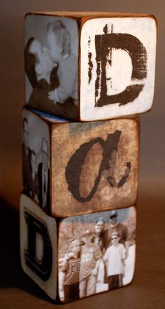 Father's day photo cubes I could do individual pics of each kid on one side, a pc of them with him, and let them draw on one side...cute for his desk at work or home