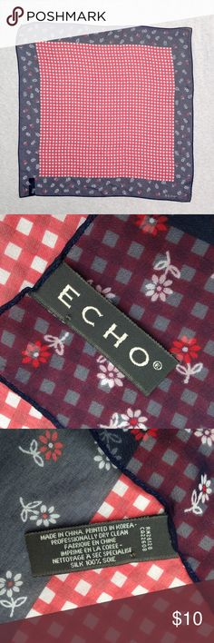 checkered scarf with blue border 100% silk, in perfect condition, red and white checkered center with navy blue border with small flowers in pattern, from smoke-free, pet-free home Echo Accessories Scarves & Wraps