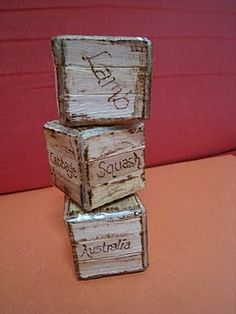 blocks made from Popsicle sticks to look like old crates - tutorial shows you how she does it.