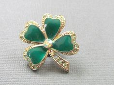 Vintage Green Enamel Shamrock Clover Pin by vintagepaige on Etsy