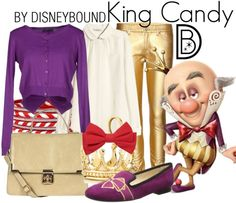 An outfit fit for a King!  King Candy from Wreck it Ralph.  | Disney Fashion | DisneyFashion Outfits | Disney Outfits | Disney Outfits Ideas | Disneybound Outfits |