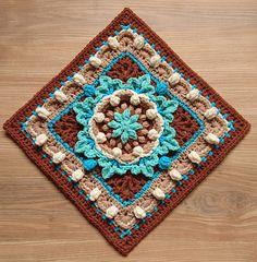 Ravelry: Monika Afghan Square pattern by Diana Krenz Crochet Squares Afghan, Crochet Square Patterns, Crochet Blocks, Crochet Blanket Patterns, Crochet Motif, Crochet Designs, Crochet Stitches, Knit Crochet, Knitting Patterns