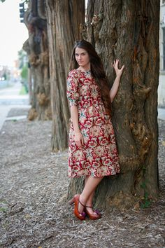 Modest Fall Fashion / Truth of the Flatter dress in Cranberry / Weddings, Bridesmaid Dresses, Ruffles, Lace, Ribbon, Holiday, Special Events / www.daintyjewells.com
