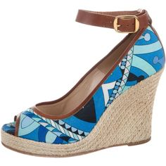 Pre-owned Emilio Pucci Printed Espadrille Wedges ($75) ❤ liked on Polyvore featuring shoes, sandals, blue, peep toe wedge shoes, espadrille sandals, blue espadrilles, peep toe shoes and wedges shoes