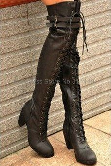 $5 http://Aliexpress.com : Buy Free Shipping,Womens Boots Shoes,Fashion Shoes,Sexy Lace Up Buckle Strap Cuban High Heel Over the Knee High Boots,Size 35 39 from Reliable Womens Boots Shoes suppliers on Mesdames shoes $5 Deal