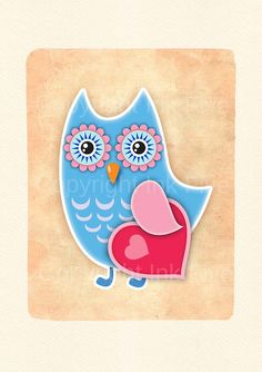 Owl in Love nursery art print Kids room wall art by InkFivePrints, $16.00