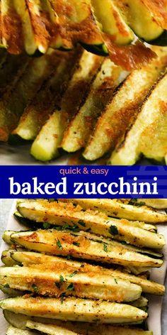 Easy Zucchini Recipes, Veggie Recipes, Vegetarian Recipes, Cooking Recipes, Healthy Recipes, How To Bake Zucchini, Zuchinni Recipe, Zucchini In The Oven, Healthy Breakfasts