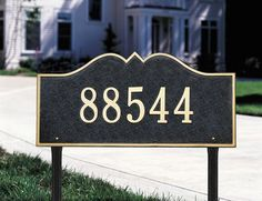 """One Line Hillsboro Estate Lawn in Black / GoldWhitehall-1189 by Whitehall. $238.80. One Line Version: Line 1 holds up to five 4.5"""" numbers or seventeen 2"""" characters"""