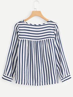 Contrast Stripe Tie Neck BlouseFor Women-romwe