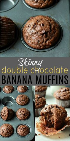 These Skinny Double Chocolate Banana Muffins are the BEST banana muffins you'll ever have! Made with whole wheat flour, cocoa powder, sweetened with bananas and honey. These muffins are crazy moist and loaded with chocolate chips in every bite. Healthy Muffins, Healthy Baking, Healthy Desserts, Ripe Banana Recipes Healthy, Plain Yogurt Recipes, Low Calorie Muffins, Low Fat Muffins, Skinny Muffins, Low Fat Desserts