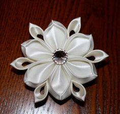 Large white and ivory Kanzashi flower with Swarovski crystal center