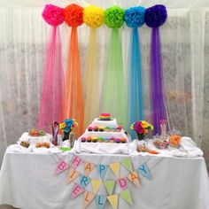 Rainbow birthday - First Birthday Party Decor - meadoria Trolls Birthday Party, Rainbow Birthday Party, Unicorn Birthday Parties, Birthday Fun, First Birthday Parties, First Birthdays, Cake Table Birthday, Troll Party, Birthday Ideas