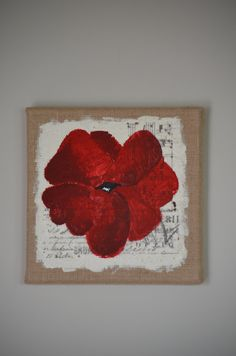 Red Poppy Mixed Media on Burlap with French by ChickadeeCrossing