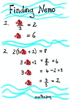 """Algebra. CC:6.EE.2a. This is a super fun activity in which the kids actually """"Find Nemo!"""" Nemo takes the place of variables in equations. This would be a great activity for students who are at the abstract level, need maintenance, and can be a little silly! All you need to do is print and pass out!"""