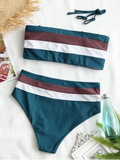 Cami Striped High Waisted Bikini - BLACKISH GREEN S #style#swimsuit#womensfashion
