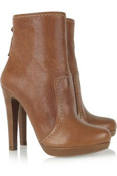 Miu Miu - Stitch-trimmed leather ankle boots