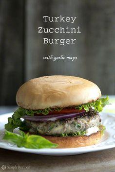Turkey Zucchini Burger with basil, oregano, and garlic mayo. #Healthy #Easy