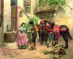 """""""The smuggler's farewell"""" Painted By: Artist Jules Worms (1832 - 1924)"""
