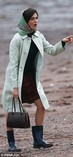 Retro: 45-year-old Rachel was in costume in her mint green coat and coordinating scarf...
