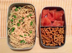 Salmon pasta/ pretzels/ grapefruit via Caitlin Wood