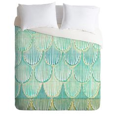 Cori Dantini Turquoise Scallops Duvet Cover | DENY Designs Home Accessories