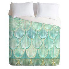 Cori Dantini Turquoise Scallops Duvet Cover   DENY Designs Home Accessories