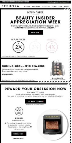 This week only. Great job of showing where you *could* be in their rewards program as you move up to VIP, etc. Also shows how many points you will earn with each purchase. Loyalty Marketing, Email Marketing, Email Newsletter Design, Email Design Inspiration, Loyalty Rewards, Sale Store, Email Templates, Sephora Makeup, Banner
