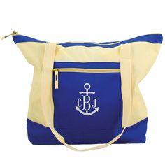 Blue Color Block Monogram Tote Bag -Anchor