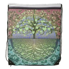 Tree of Life Hearts and Love Drawstring Backpacks by Amelia Carrie