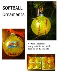 DIY Softball ornaments - cute and easy made by my daughter for her team. We used pre-purchased glass flat balls, the Pledge floor wax/glitter interior decoration method, and some personalization with a team sticker and some Sharpies.