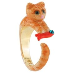 Les Nereides Les Nereides Loves Animals Kitten And Fish Ring ($59) ❤ liked on Polyvore featuring jewelry, rings, orange, les nereides ring, chain ring, orange ring, rhinestone jewelry and orange jewelry