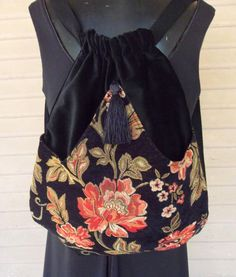Black Backpack With Tangerine Flower in Chenille by piperscrossing, $45.00