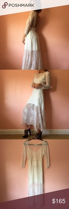 For Love & Lemons San Marcos Lace Midi Dress Look back at it in this elegant white lace midi dress by For Love & Lemons. Features a boat neckline, super low back with waist strap, all over lace, three quarter sleeves and partially lined mini dress. Wear with a dark lip and pony. MSRP $335. Fits small like a Medium. Marked size Large. Small tear above zipper, not noticeable when worn and price reflected. No returns allowed. Please ask all questions before buying. IG: [at] jacqueline.pak…