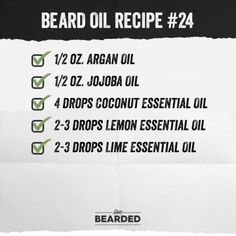 Looking for a good beard oil? We'll show you how to craft the perfect beard oil recipe from home, and show you step by step what you need to do! Diy Beard Oil, Beard Oil And Balm, Best Beard Oil, Beard Balm, Coconut Essential Oil, Lime Essential Oil, Essential Oil Blends, Essential Oils, Beard Butter