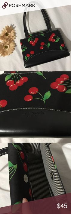 💥WEEKEND SALE💥Kate spade cherry design bag Kate spade cherry design bag. Very classy bag. Used several times and shoes some wear inside but still in good condition. See the last picture for the minor flaws. Measurement: 7x10x3.5. ✔️add another bundle to save 10% kate spade Bags