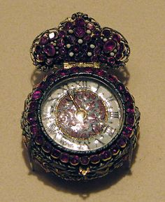 Ca. 1660 Watch - Case: Gold & Painted Enamel Set with Garnets; Movement: Gilded Brass & Steel, Partly Blued