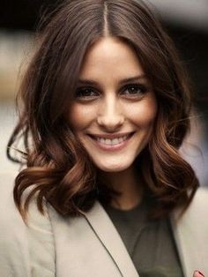 Long bob haircut, slightly A-lined, rich brunette with face ...