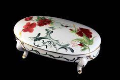 Oval Vanity Bowl Hummingbird Design Lidded Bowl Footed