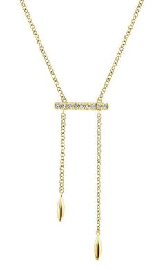 Gaby collection necklace in 14k yellow gold with 0.08 ct. t.w. diamonds, $495; Gabriel & Co.