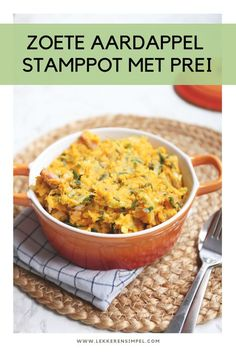 Zoete aardappelstamppot met prei I Love Food, Good Food, Yummy Food, Low Carb Recipes, Cooking Recipes, Healthy Recipes, No Cook Meals, Food Inspiration, Food To Make